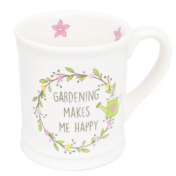 The Country Life Large White China Glazed Ceramic Gardeners Mug For Tea And Coffee ~ Gardening Makes Me Happy
