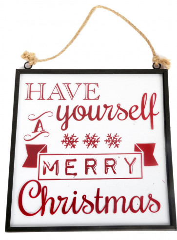 Hanging Christmas Glass Plaque Decoration 21cm x 20cm - Have Yourself A Merry Christmas