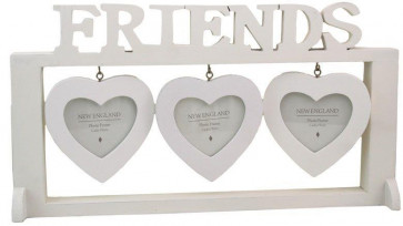Shabby Chic White Washed Hanging Heart Photo Frame - Friends