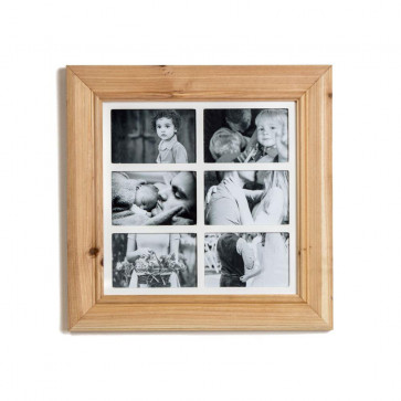 Deluxe 6 Aperture Solid Pine Wood Hanging Multi Photo Picture Frame ~ Natural Brushed Pine