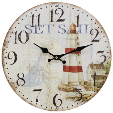 Wooden Nautical Hanging Wall Clock ~ 34cm Lighthouse Clock