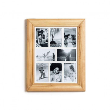 Deluxe 8 Aperture Solid Pine Wood Hanging Multi Photo Picture Frame ~ Natural Brushed Pine
