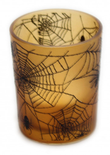 Glass Halloween Tea Light Holder Spider Cobweb Candlepot With LED Tealight Party Decoration