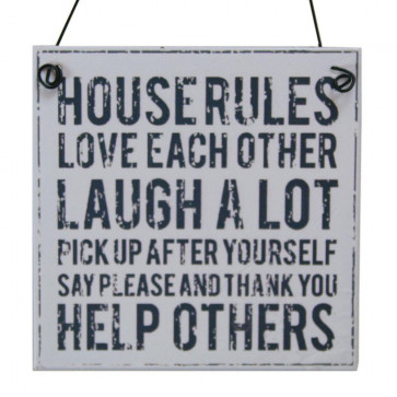Metal House Rules Sign ~ House Rules Plaque