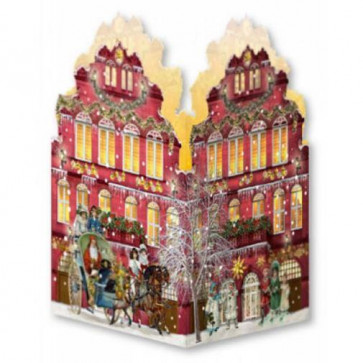 Deluxe Mini Advent Calendar Christmas Card - Nostalgic House Tealight Lantern - Red House