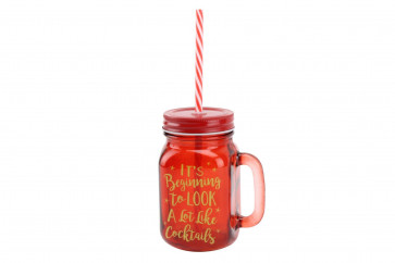Retro Mason Style Glass Handled Christmas Cocktails Drinking Jar With Straw