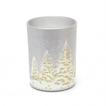 Frosted Glass Christmas Candle Holder | Glitter Tree Xmas Decoration | White Wax Candle Table Centerpiece
