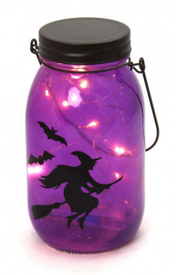 Hanging Glass Jar LED Battery Operated Halloween Lantern Party Decoration ~ Purple Witch