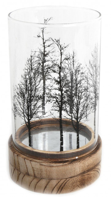 Beautiful Tree Glass Wood Candle Tealight Holder