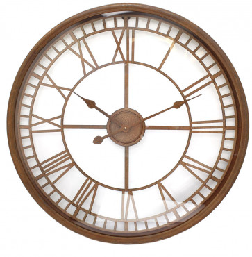 68cm Large Rustic Distressed Iron Metal Glass Face Decorative Wall Clock