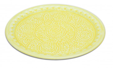Large Decorative Metal Summer Party Picnic BBQ Watercolour Plate Serving Tray 36cm ~  Yellow