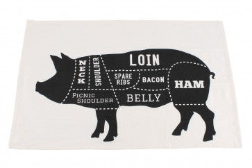 Butchers Cut Pork Joints Cotton Tea Towel For Bbq Kitchen