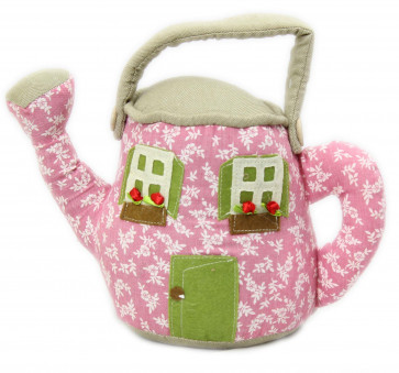 Floral House Watering Can Doorstop ~ Pink
