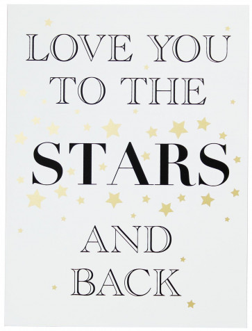 Gold Wooden Love Sign Wall Hanging Plaque 30cm x 40cm ~ Love You To The Stars