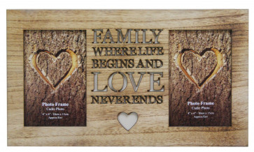 4 X 6 Rustic Double Worded Wooden Family Photo Frame