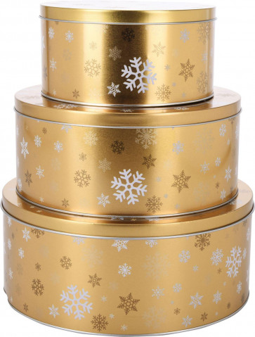 Set of 3 Gold Snowflake Christmas Cake Cookie Biscuit Round Storage Tins