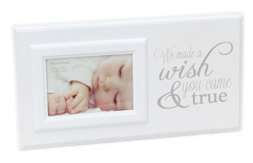 New Baby Wooden Photo Frame Poem Plaque 17cm x 32cm ~ We Made A Wish You Came True