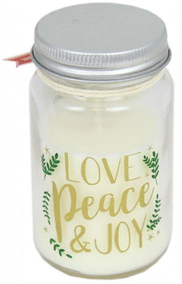 Christmas Clear Glass Jar Candle With Lid ~ Vanilla Love Peace And Joy