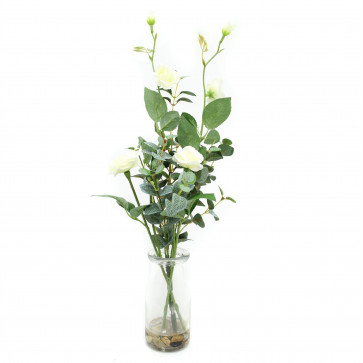 Beautiful Artificial White Floral Spray Flowers With Decorative Jar