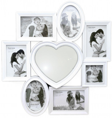 Gorgeous White Plastic Multi Photo Frame With Heart Mirror 49cm x 51cm