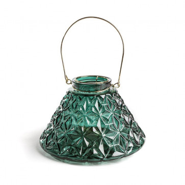 Emerald Green Geometric Embossed Wide Based Glass Tealight Holder Candle Lantern 22cm x 15cm