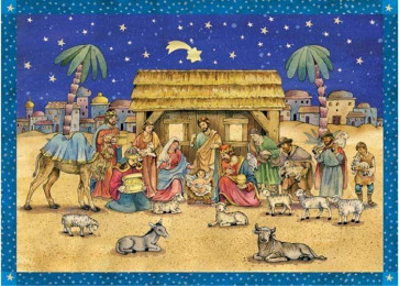 Deluxe Traditional Card Advent Calendar with Envelope - Traditional Nativity Scene