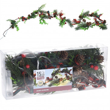 15 Led Pine Cone And Berries Fairy Lights Garland | Festive Christmas Festoon Warm White Led Lights 1.5m | Battery Operated Decorative Lighting