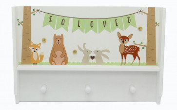 Woodland Forest Animal Bedroom Nursery Decorative Peg Shelf Coat Hook Storage Rack