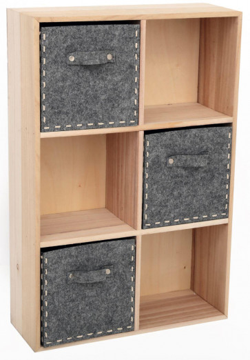 Felt Drawers Wooden Storage Unit Cabinet - Square Compartment Display Rack Shelves
