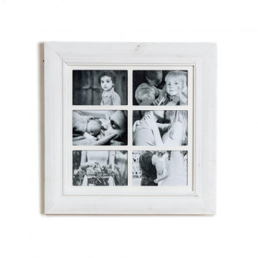 Deluxe 6 Aperture Solid Pine Wood Hanging Multi Photo Picture Frame ~ White