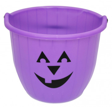 Haunted House Large Halloween Candy Bucket - Pumpkin Face Trick Or Treat Jumbo Plastic Bucket With Handle ~ Purple