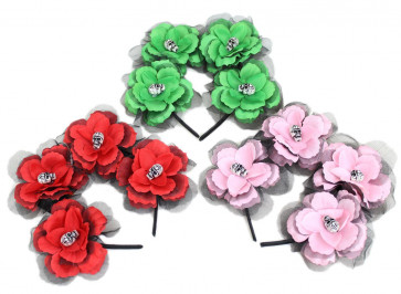 Halloween Rose And Sugar Skull Headband Fancy Dress Accessory ~ Colour Vary