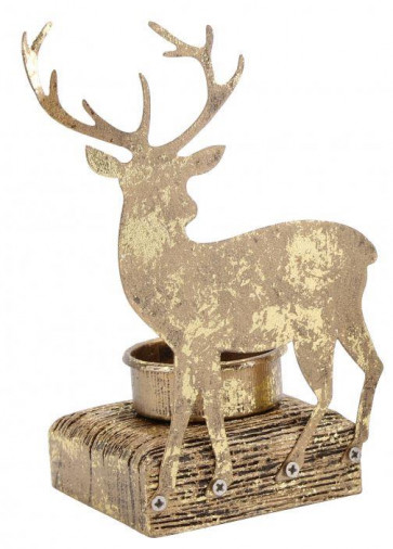 Gold Tea Light Holder Christmas Candle Decoration ~ Stag Tealight