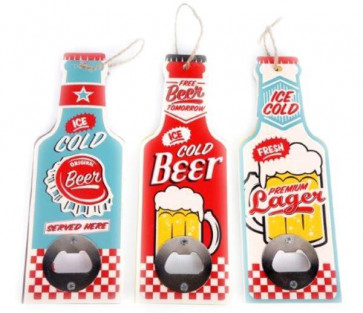 Retro Beer Bottle Shaped Opener Party BBQ Home Bar Blade ~ Design Varies