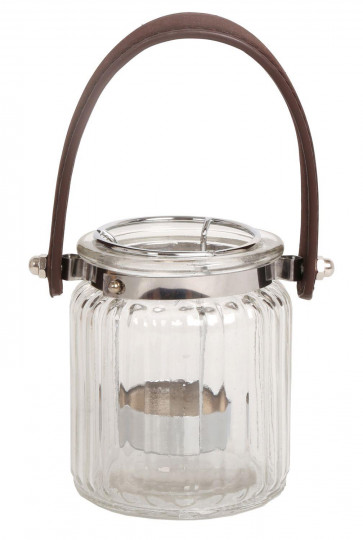 Small Clear Ribbed Glass Decorative Tealight Candle Holder With