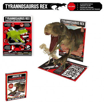 Jurassic 4D Wooden Dinosaur Puzzle With Augmented Reality App  ~ Tyrannosaurus Rex