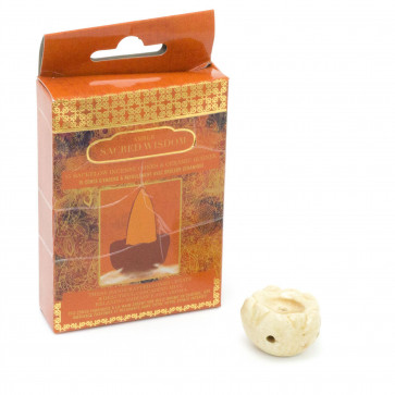 15 Backflow Incense Cones And Ceramic Burner   Waterfall Back Flowing Incense Cones With Holder   Aromatherapy Burner - Amber