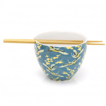 Ceramic Oriental Chinese Dinner Japanese Dining Bowl And Bamboo Chopstick Set - Blue