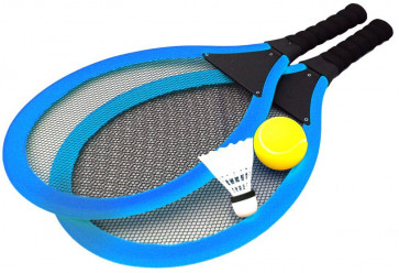 Jumbo Soft Tennis Set With Shuttlecock - Blue