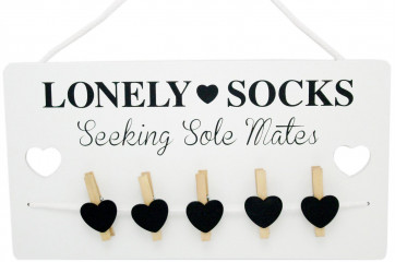 Humorous Lonely Socks Wooden Sign Plaque With Pegs ~ Lost Sock Organizer