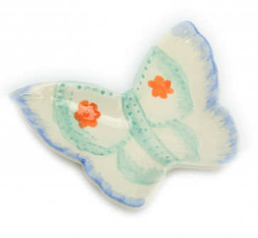 Hand Painted Ceramic Jewellery Ring Holder Trinket Tray Dish - Butterfly Design