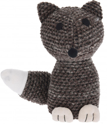 Chunky Knitted Fabric Decorative Fox Animal Novelty Doorstop - Brown