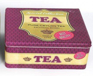 Retro Vintage Tea Storage Kitchen Canister Container Tin ~ Purple Container