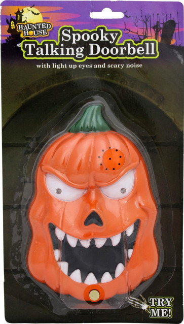 Haunted House Spooky Talking Halloween Doorbell With Lights Sounds And Surprise Spider ~ Evil Pumpkin