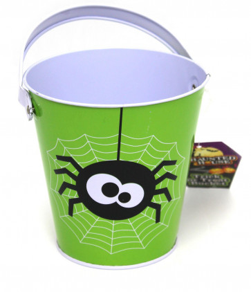 Haunted House Tin Trick Or Treat Halloween Candy Bucket - Childrens Trick Or Treating Metal Bucket With Handle - Green Spider