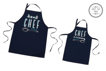 Set of 2 Blue Cotton Novelty Chef Aprons - Adult's Head Chef and Child's Chef in Training