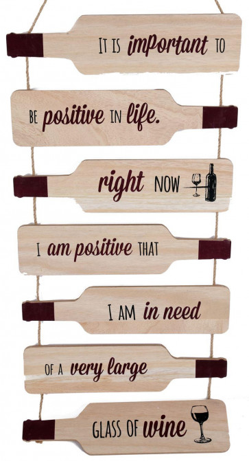 Wooden Bottle Shape Wine Quote Plaque Wall Hanging Sign 82cm ~ Important To Be Positive