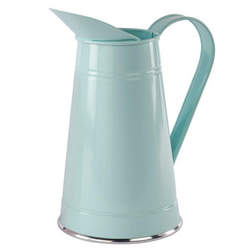 Metal Pitcher Vintage Style Floral Display Indoor Outdoor Jug - Decorative Flower Vase - Green