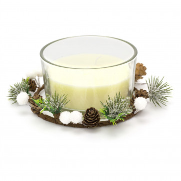 Christmas Wreath Candle Pot Decoration | Traditional Xmas Candle Ornament Table Centrepiece | White Wax