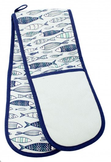 Heat Resistant Double Oven Glove ~ Nautical Seashore Kitchen BBQ Mitt ~ Fish